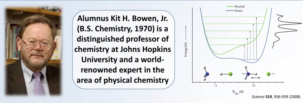 Alumnus Kit H. Bowen, Jr. (B.S. Chemistry, 1970) is a distinguished professor of chemistry at Johns Hopkins University and a world-renowned expert in the area of physical chemistry