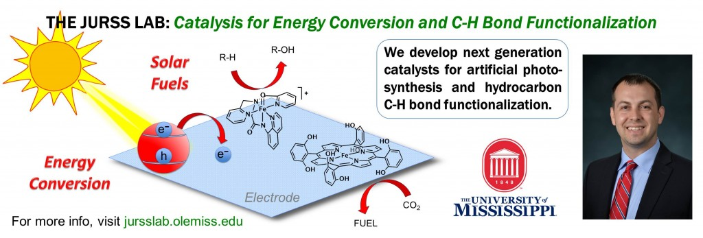 The Jurss Group develops next generation catalysts for artificial photo-synthesis and hydrocarbon C-H bond functionalization.